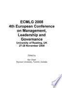 Ecmlg2008 Proceedings Of The 4th European Conference On Management Leadership And Governance