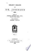 Select Essays of Dr  Johnson