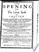 The Opening of the Great Seale of England