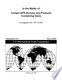 Certain Gps Devices And Products Containing Same Inv 337 Ta 602