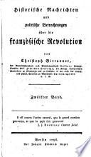 Historische Nachrichten       ber die franz  sische Revolution