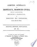 Comptes généraux des hopitaux, hospices civils, enfans abandonnés; secours à domicile, et direction des nourrices, de la ville de Paris