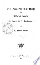 Die Naturanschauung und Naturphilosophie der Araber im 10  Jahrhundert
