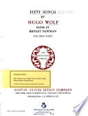 Fifty Songs By Hugo Wolf