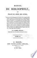 Manuel Du Bibliophile