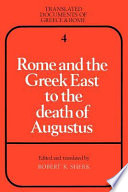 Book Rome and the Greek East to the Death of Augustus