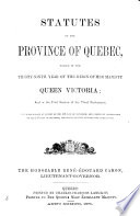 Statutes of the Province of Qu  bec