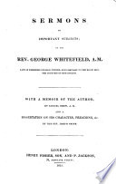 Sermons On Important Subjects With A Memoir Of The Author By S Drew And A Dissertation On His Character Preaching Etc By Joseph Or Rather Josiah Smith