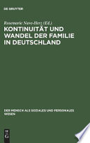 Kontinuit T Und Wandel Der Familie In Deutschland