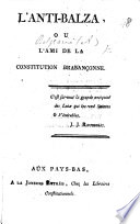 L'Anti-Balza, ou l'ami de la constitution Brabançonne. [Denouncing Balza, and the rest of the provisional representatives of the city of Brussels, as usurpers.]