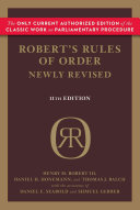 Robert S Rules Of Order Newly Revised 11th Edition
