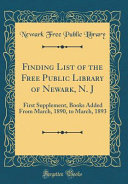 Finding List of the Free Public Library of Newark, N. J