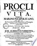 Procli philosophi Platonici vita