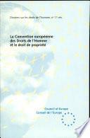 illustration du livre La Convention européenne des Droits de l'Homme et le droit de propriété