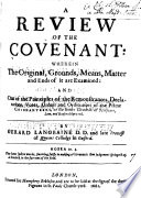 A review of the Covenant  by G  Langbaine   by G  Langbaine