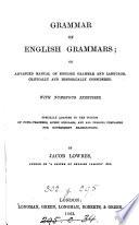 Grammar Of English Grammars Or Advanced Manual Of English Grammar And Language