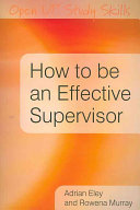 How to be an Effective Supervisor