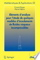 illustration Eléments d'analyse pour l'étude de quelques modèles d'écoulements de fluides visqueux incompressibles