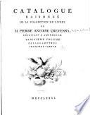 Catalogue raisson   de la collection de livres de M  Pierre Antoine Crevenna