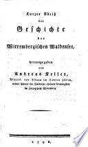 Kurzer Abriss der Geschichte der Wirtembergischen Waldenser