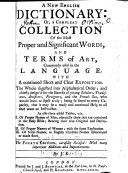 download ebook a new english dictionary: or, a compleat collection of the most proper and significant words, and terms of art, commonly used in the language ... pdf epub