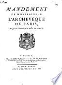 Mandement de monseigneur l'Archevêque de Paris, au sujet de l'incendie de l'Hôtel-Dieu