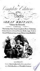 A Complete Edition of the Poets of Great Britain..: Wilkie. Dodsley. Shaw. Smart. Langhorne. Bruce. Chatterton. Graeme. Glover. Lovibond. Penrose. Mickle. Jago. Scott. Johnson. W. Whitehead. Jenyns. Logan. Warton. Cotton. Blacklock