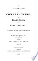 An Introduction to Conveyancing  and the New Statutes Concerning Real Property