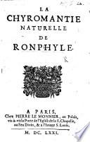 La Chyromantie naturelle de Ronphile. Translated by - de Rampalle