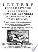 Lettere ecclesiastiche di monsignor Pompeo Sarnelli dottor della Sacra Teologia      divise in nove tomi  Tomo primo       decimo