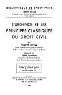 illustration du livre L'Urgence et les principes classiques du droit civil ...