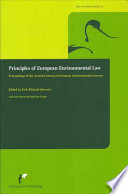 Principles of European Environmental Law