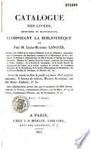 Catalogue des livres imprim  s et manuscrits composant la biblioth  que de feu M  L  M  Langl  s
