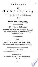 Übungen zum Übersetzen aus dem Deutschen in die lateinische Sprache für Knaben von 9 - 12 Jahren