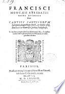 Sacra bucolica sive cantici canticorum et psalmi 44 ... poetica paraphrasis. In eandem paraphrasim lucubrationum libri 3