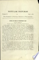 Notes on Birds of Northern Siam: Notulae Naturae of The Acad. of Natural Sciences of Phila., No. 173