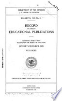 Record of Current Educational Publications Book PDF