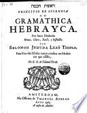 Principio de sciencia ou gramathica hebrayca  etc