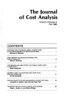 The Journal Of Cost Analysis