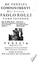 Ode di Serio Stile  Ode d Arg  Amorevoli  Endecasillabi  Sonetti  Cantate  Canzonette  Le Meriboniane  Epigrammi