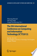 The 9th International Conference On Computing And InformationTechnology (IC2IT2013) : on computing and information technology (ic2it...