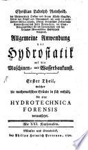 Allgemeine Anwendung der Hydrostatik auf die Maschinen  und Wasserbaukunst