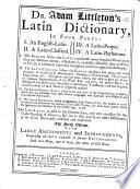 Lingu Latin Liber Dictionarius Quadripartitus The Fourth Edition Etc