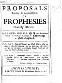 Proposals touching the Accomplishment of Prophecies