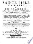 La Sainte Bible en latin et en fran  ois