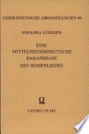 Eine mittelhochdeutsche Paraphrase des Hohenliedes