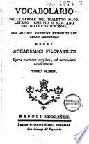 Vocabolario delle parole del dialetto napoletano