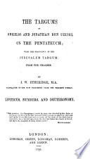 The Targums of Onkelos and Jonathan Ben Uzziel on the Pentateuch Pdf/ePub eBook