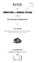 download ebook manuel des fondations de bourses d\'étude instituées en faveur des luxembourgeois pdf epub