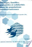illustration Ménages, familles, parentèles et solidarités dans les populations méditerranéennes